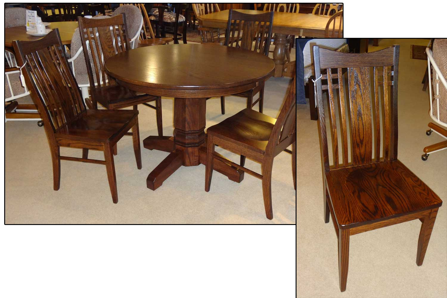 Amish dining furniture michigan rockford pedestal table