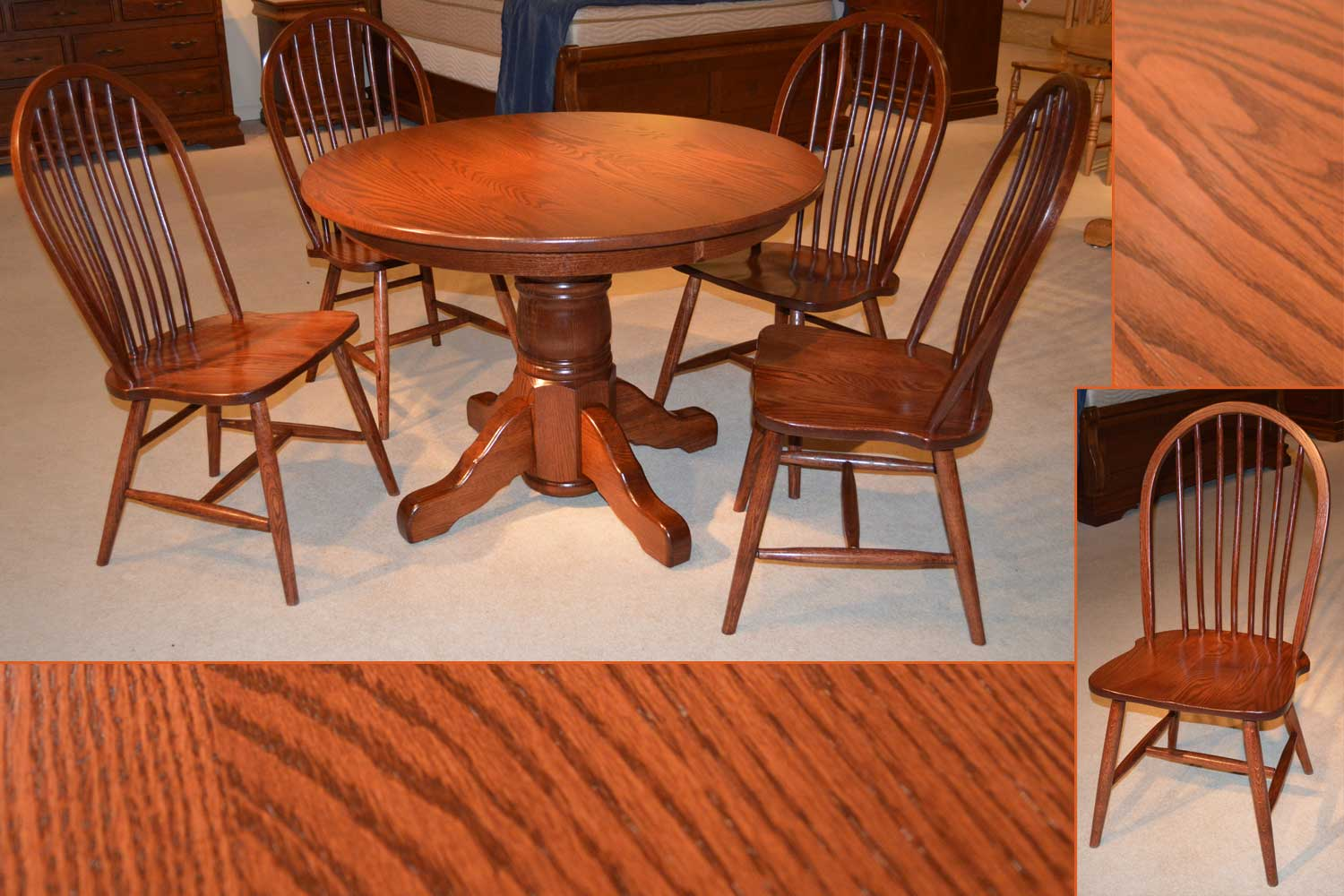 Amish Furniture Michigan Single Pedestal Table Denver Side Chair
