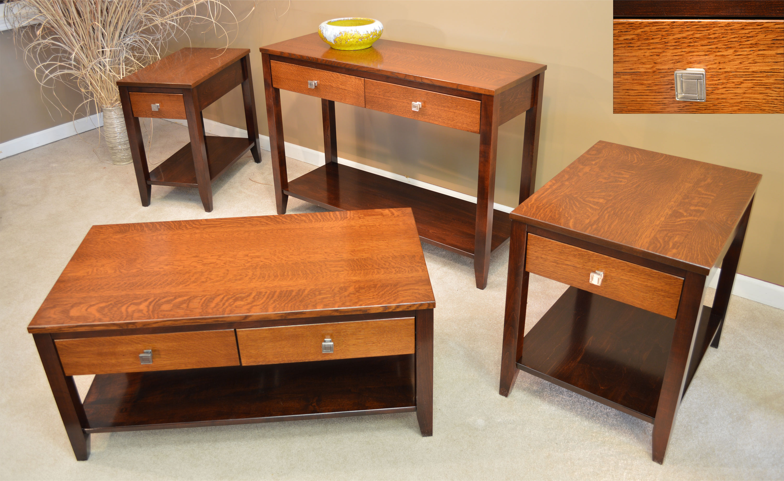 Amish Tiger Oak Contemporary Tables Jasens Furniture Detroit Michigan