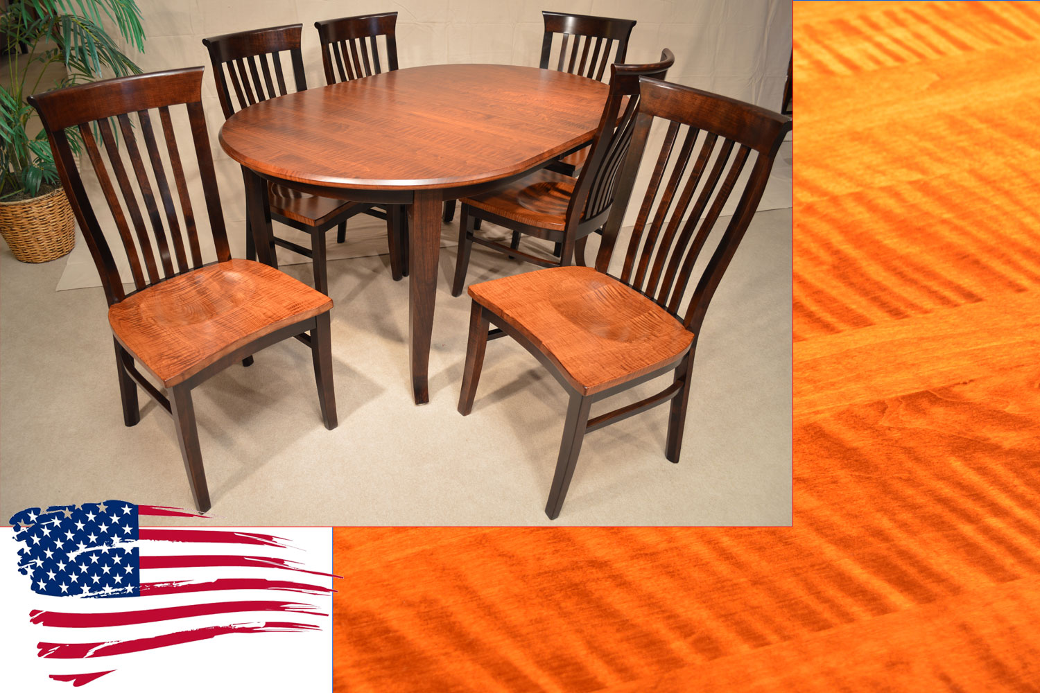 Amish oval dining table and tiger maple side chairs for Side chairs for dining table