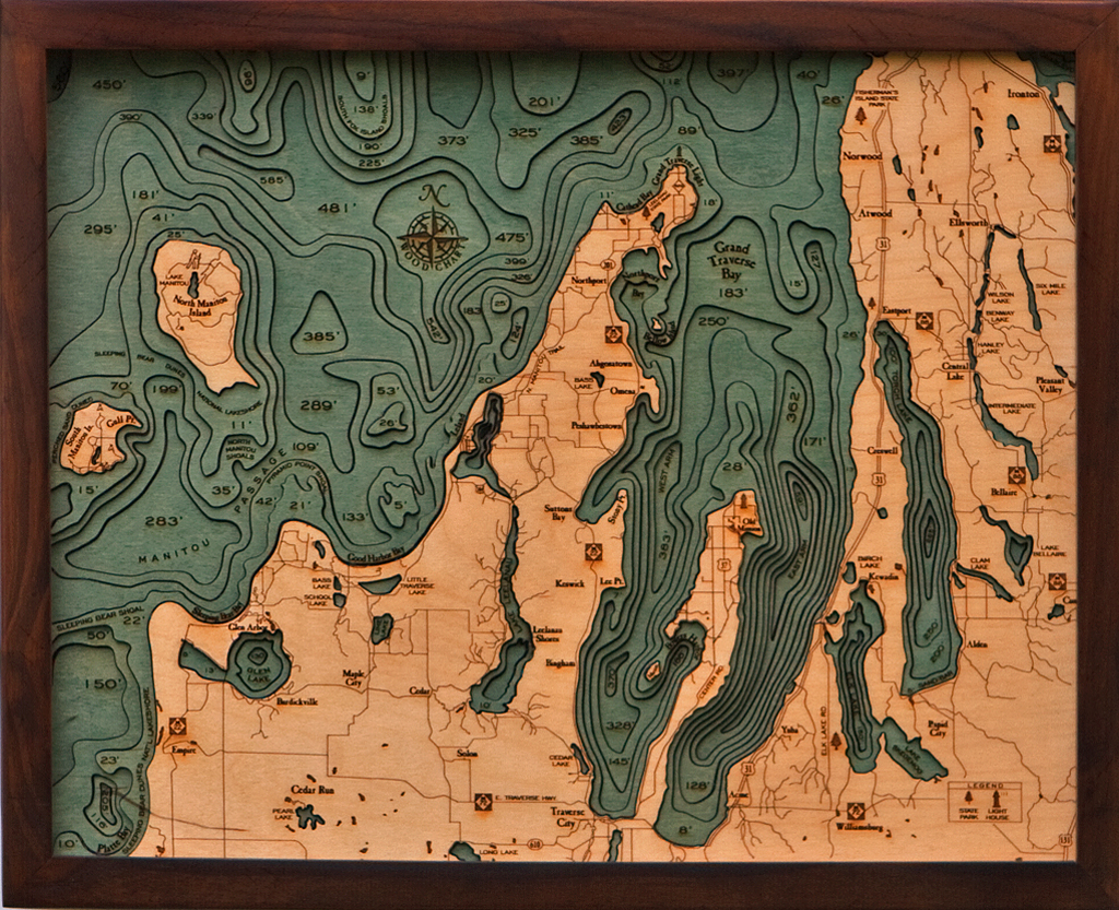 Grand Traverse Bay Wood Chart NGTB-D2L