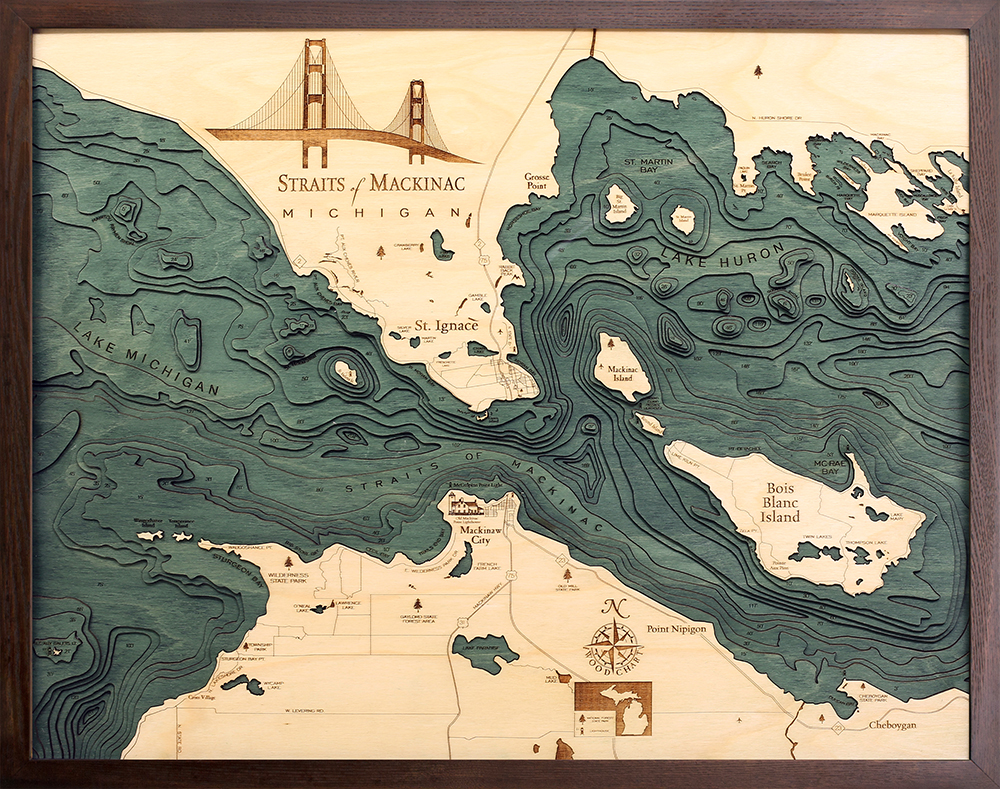 Woodchart Straits of Mackinac SM-D2L-A