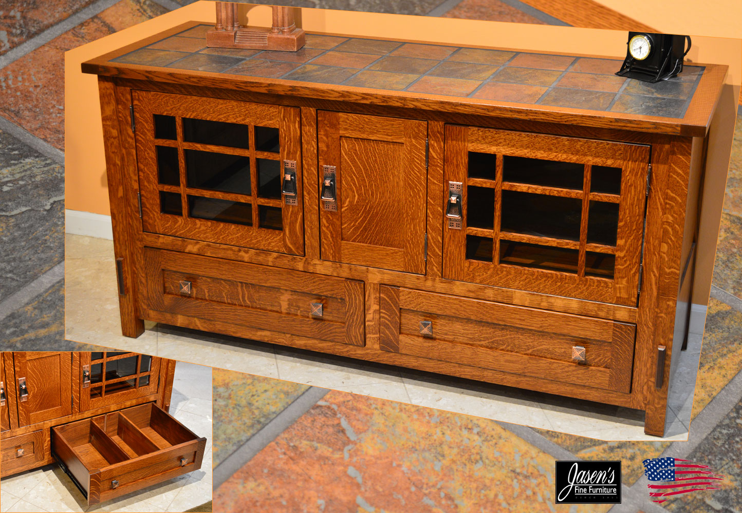 amish tile top tv stand jasen s fine furniture since 1951