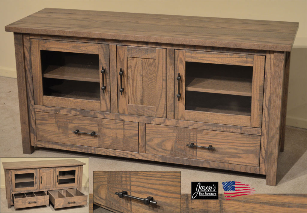amish rustic gray tv stand