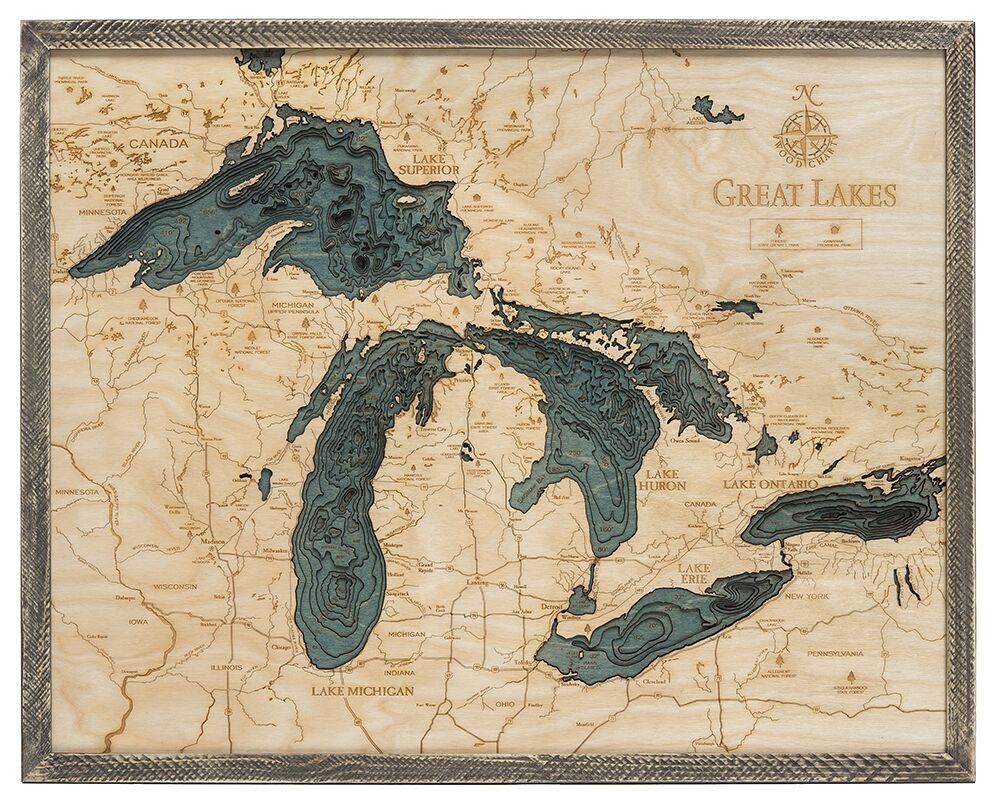 Great Lakes Wood Chart Farm Frame