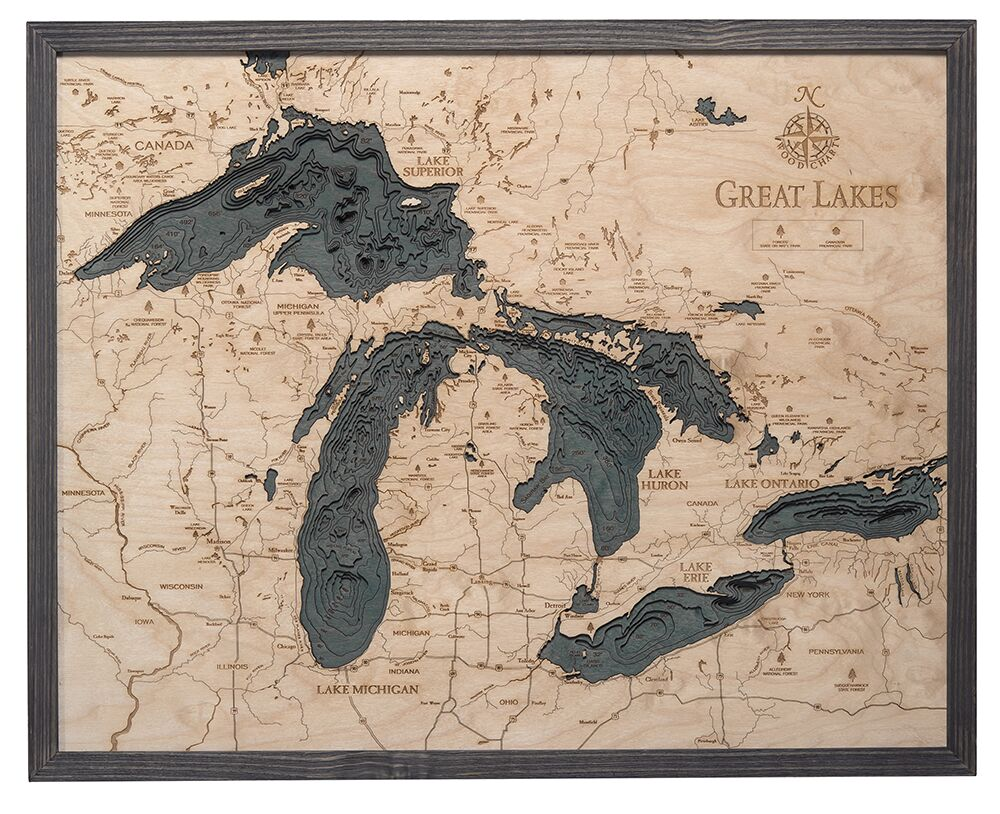 great lakes wood chart grey frame