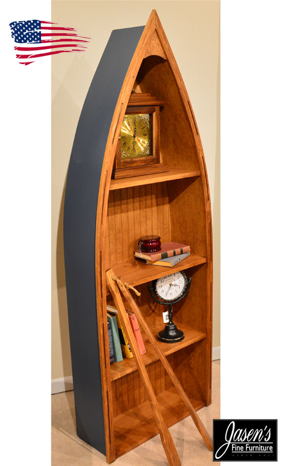 blue boat bookcase